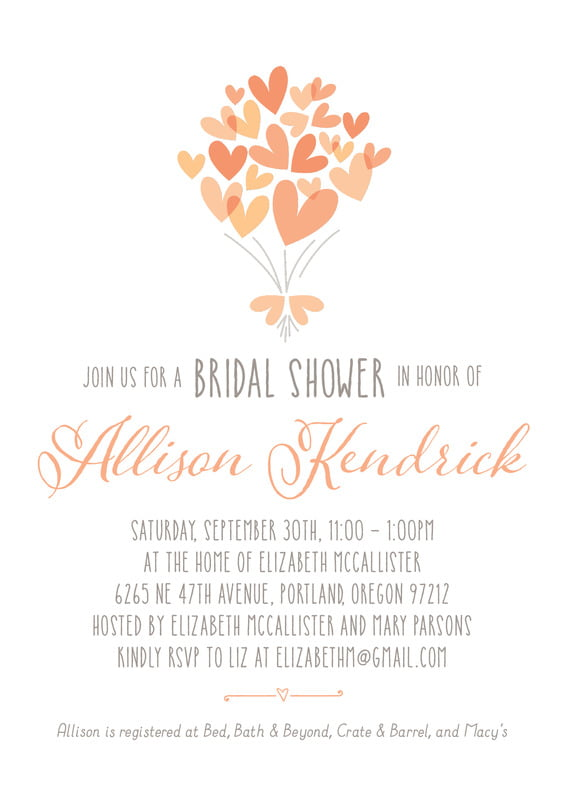 baby shower invitations - peach - heart bouquet (set of 10)