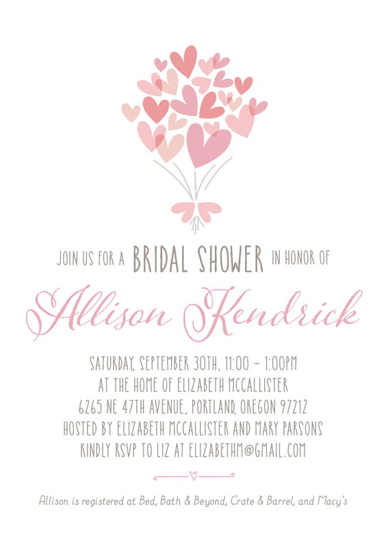 baby shower invitations - pale pink - heart bouquet (set of 10)