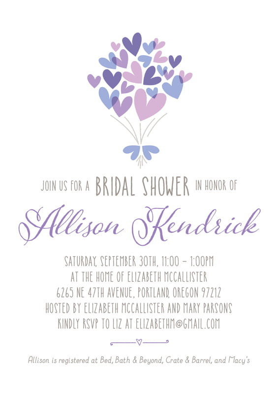 baby shower invitations - lilac - heart bouquet (set of 10)