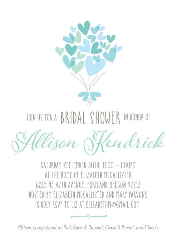 baby shower invitations - sea glass - heart bouquet (set of 10)