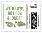 Holly Rustic christmas postage stamps