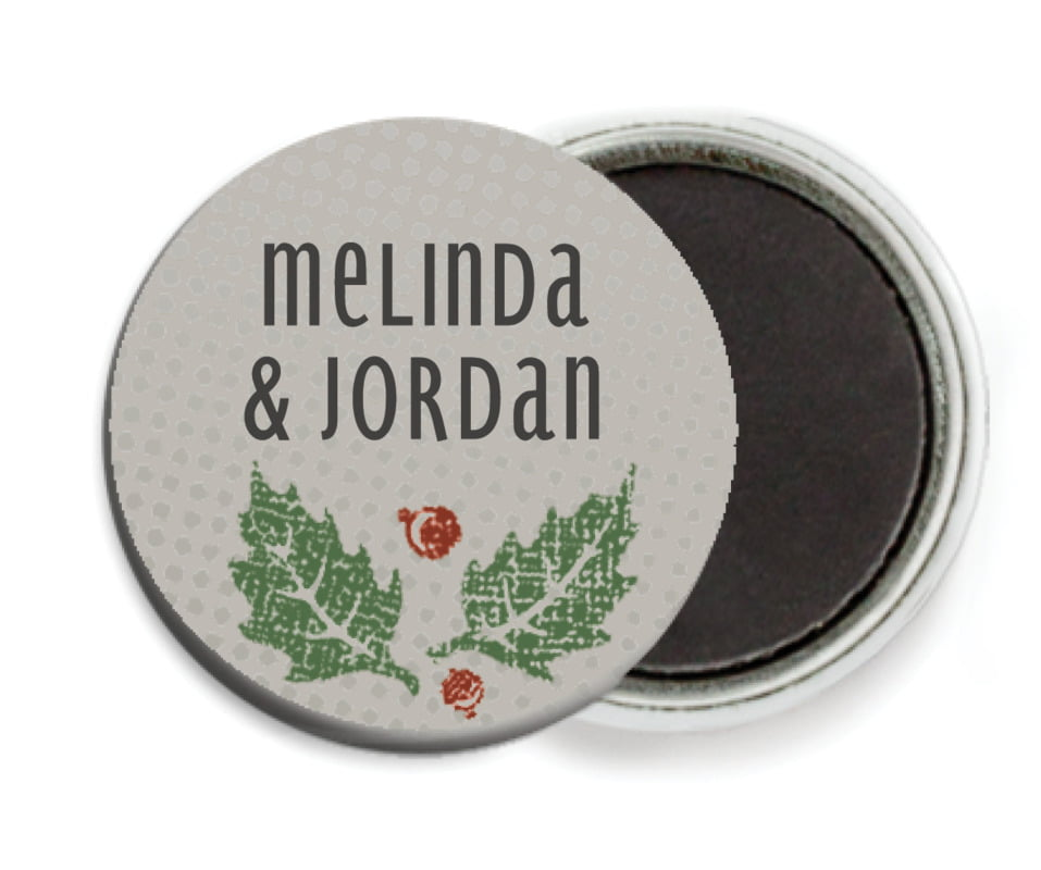 custom button magnets - charcoal - holly rustic (set of 6)