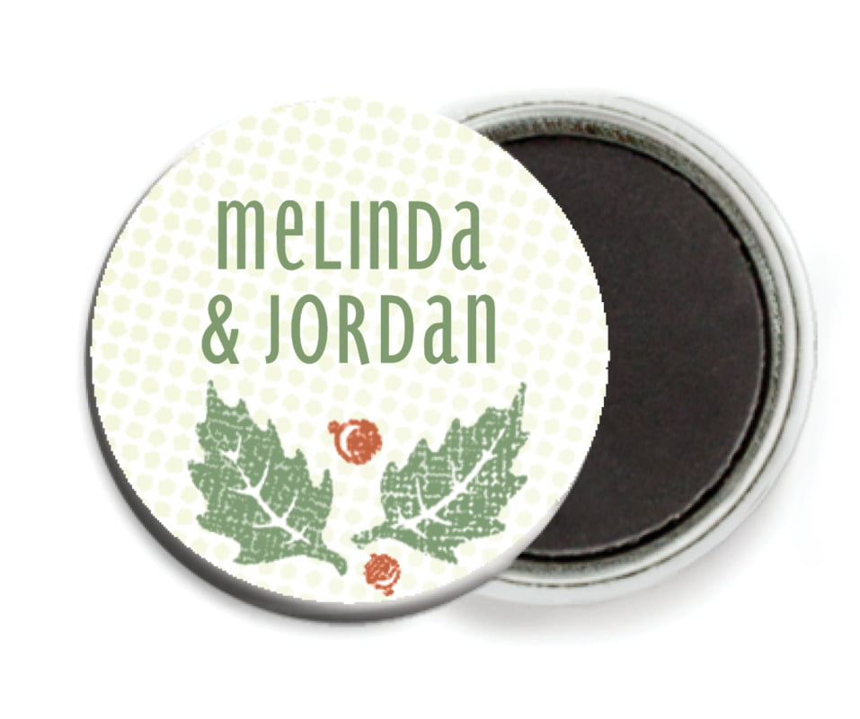 custom button magnets - green - holly rustic (set of 6)