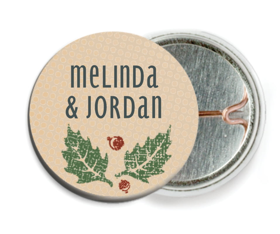 custom pin back buttons - kraft - holly rustic (set of 6)