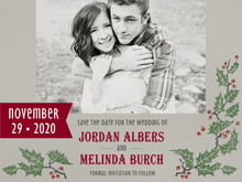 custom save-the-date cards - charcoal - holly rustic (set of 10)