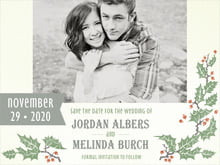 custom save-the-date cards - green - holly rustic (set of 10)