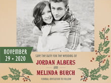 custom save-the-date cards - kraft - holly rustic (set of 10)