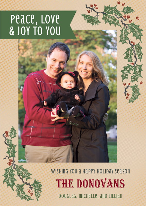 holiday cards - kraft - holly rustic (set of 10)