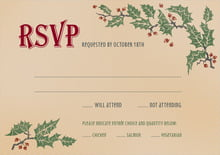 custom response cards - kraft - holly rustic (set of 10)