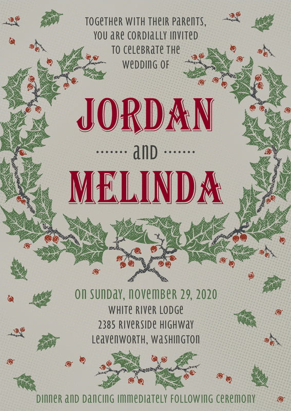 custom invitations - charcoal - holly rustic (set of 10)