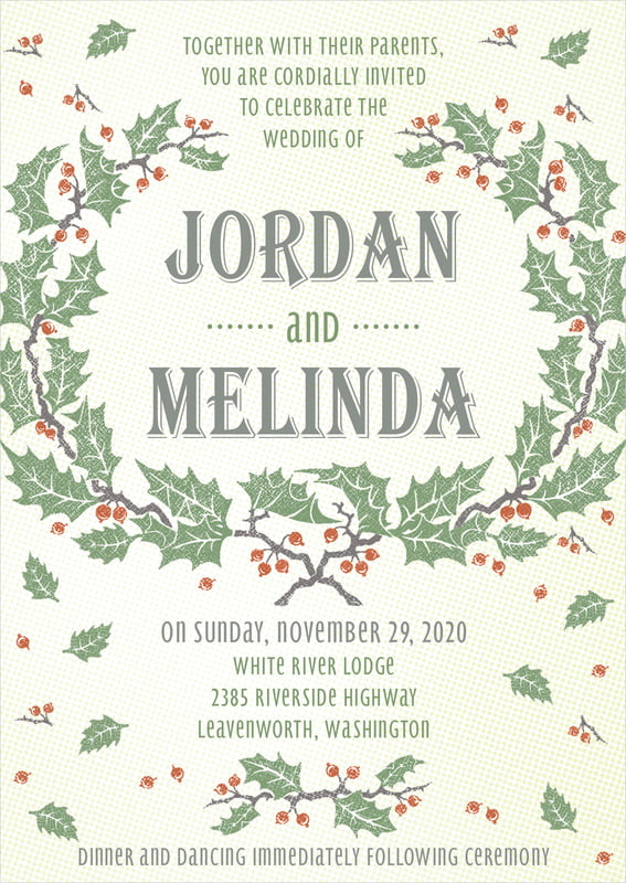 custom invitations - green - holly rustic (set of 10)