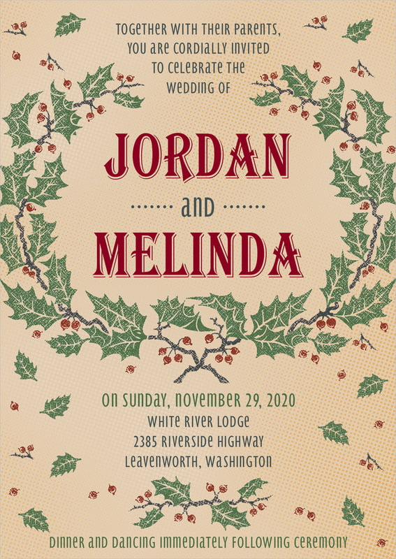custom invitations - kraft - holly rustic (set of 10)