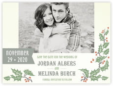 Holly Rustic save the date cards