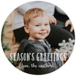 Holiday Flourish Circle Label In Burgundy