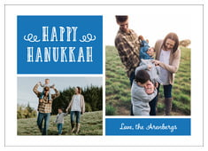 Holiday Flourish Photo Cards - Horizontal In Cobalt