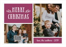 holiday cards - burgundy - holiday flourish (set of 10)