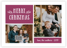 Holiday Flourish Photo Cards - Horizontal In Burgundy