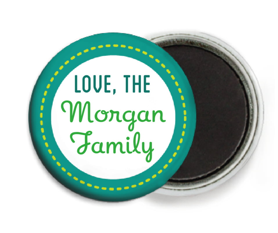 custom button magnets - green - holiday express (set of 6)