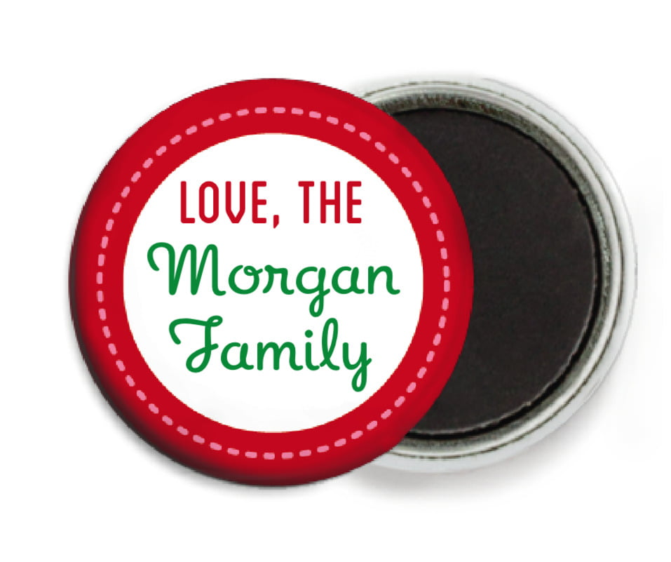 custom button magnets - deep green - holiday express (set of 6)