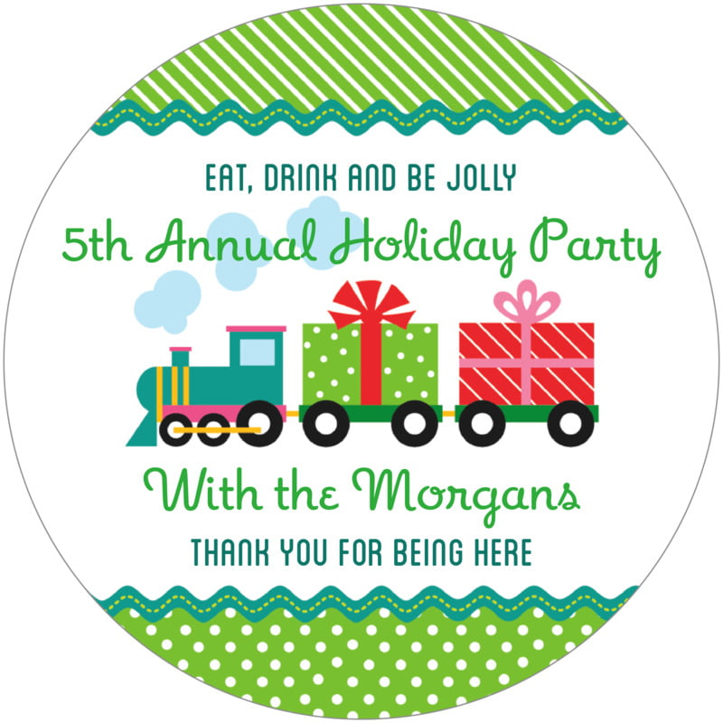 round holiday coasters - green - holiday express (set of 12)