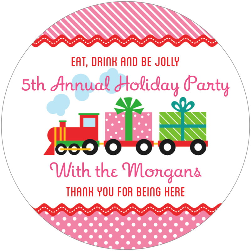 round holiday coasters - bright pink - holiday express (set of 12)