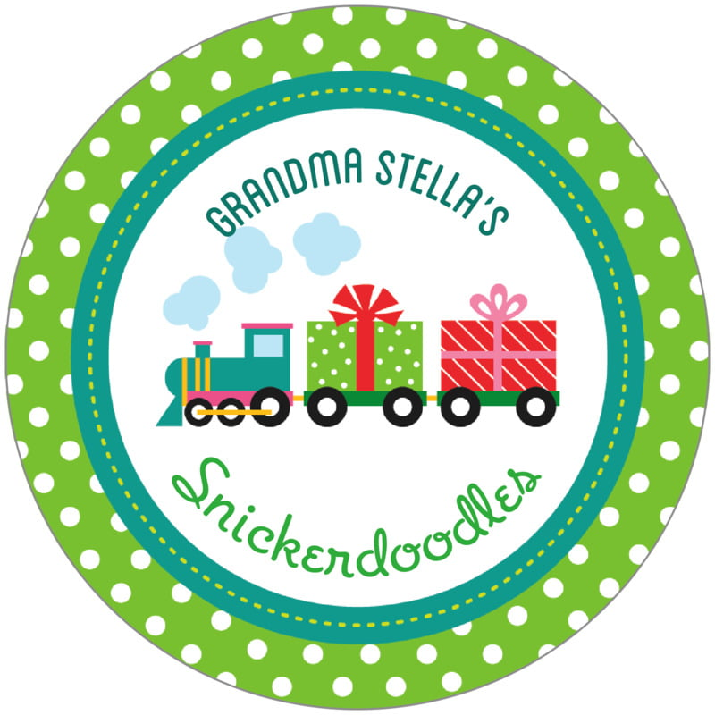 circle food/craft labels - green - holiday express (set of 12)