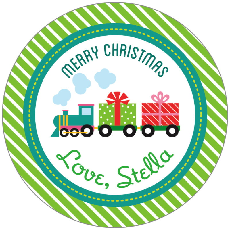 circle food/craft labels - green - holiday express (set of 20)