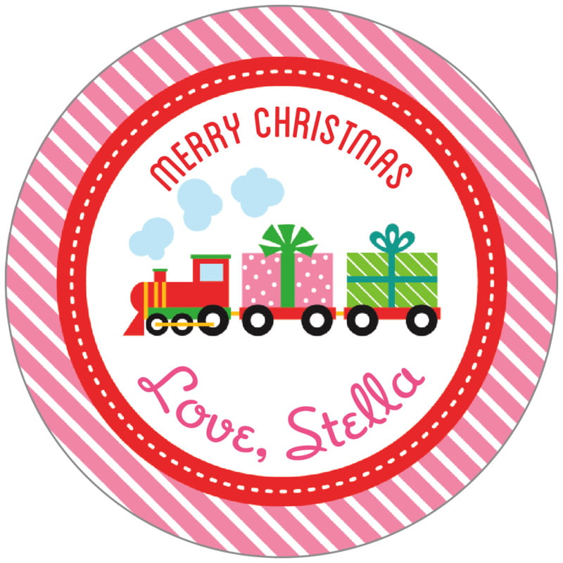 circle food/craft labels - bright pink - holiday express (set of 20)