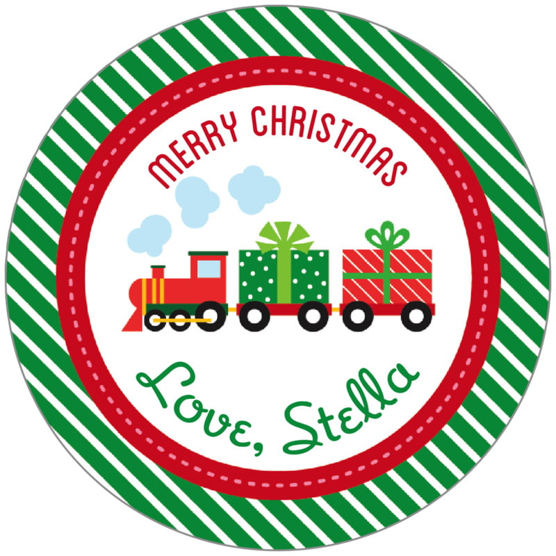 circle food/craft labels - deep green - holiday express (set of 20)