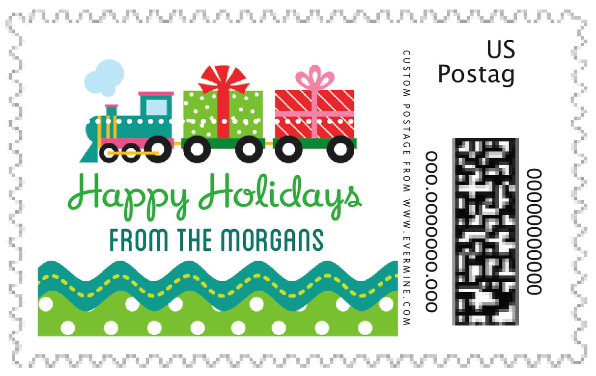 custom large postage stamps - green - holiday express (set of 20)