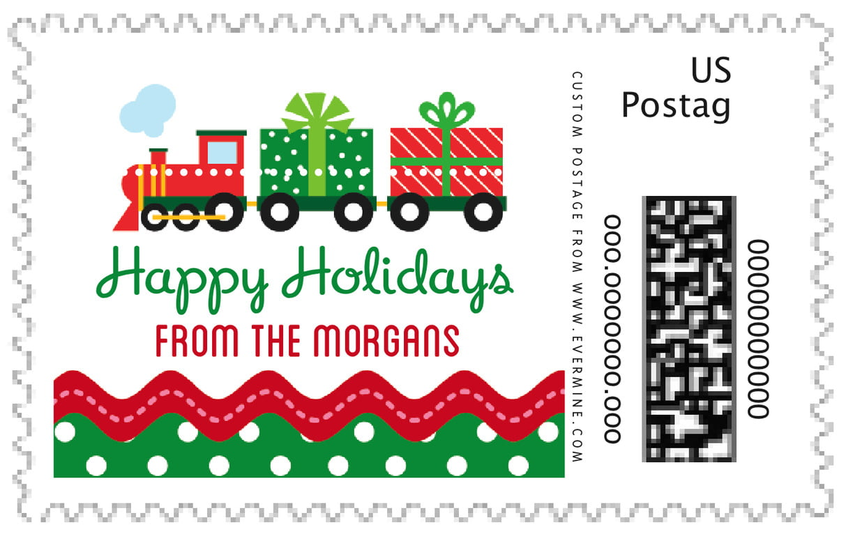 custom large postage stamps - deep green - holiday express (set of 20)