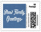 Brush Edge Small Postage Stamp In Deep Blue