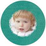Brush Edge Circle Photo Label In Turquoise