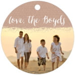 Brush Edge Circle Hang Tag In Mocha