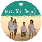 Brush Edge Circle Hang Tag In Turquoise