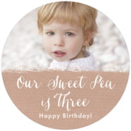 Brush Edge Large Circle Label In Mocha