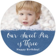 Brush Edge Large Circle Label In Deep Blue