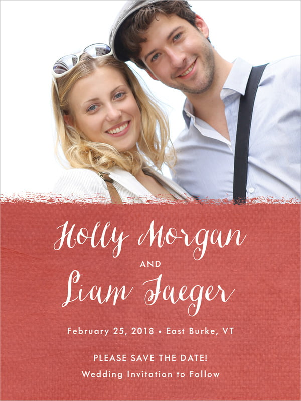 Custom Tall Save The Date Cards - Deep Red - Brush Edge