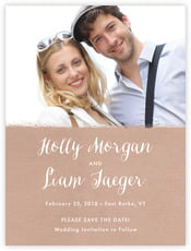 Brush Edge Save The Date Card In Mocha