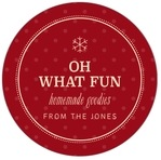 Iconic Christmas Circle Label In Deep Red