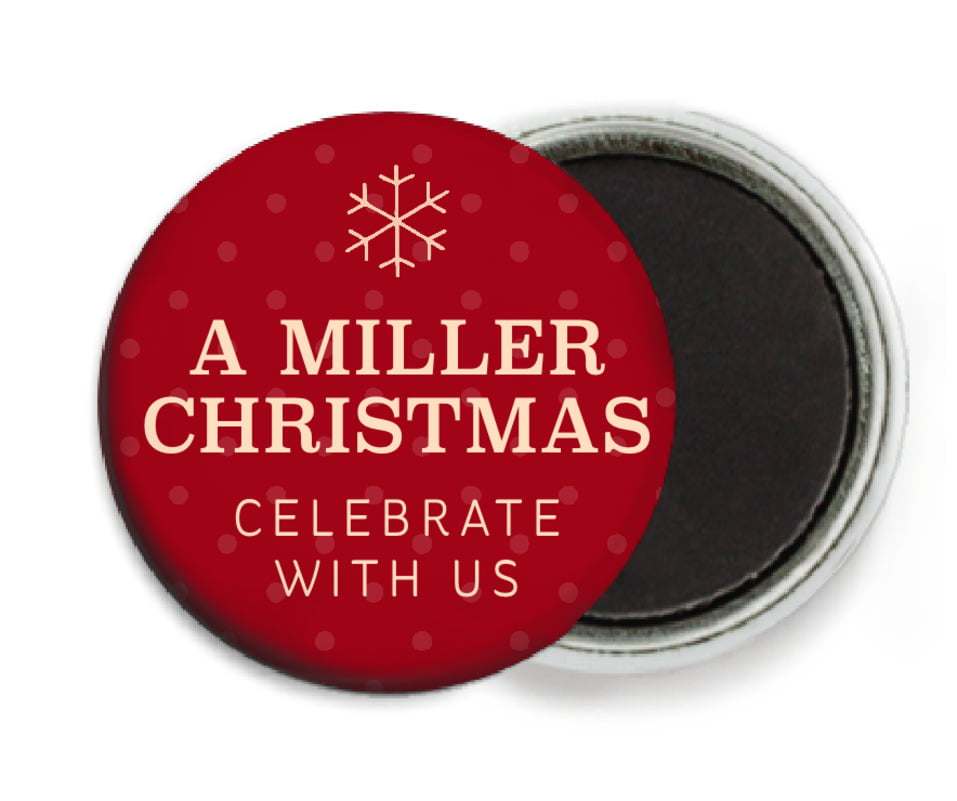 custom button magnets - deep red - iconic christmas (set of 6)