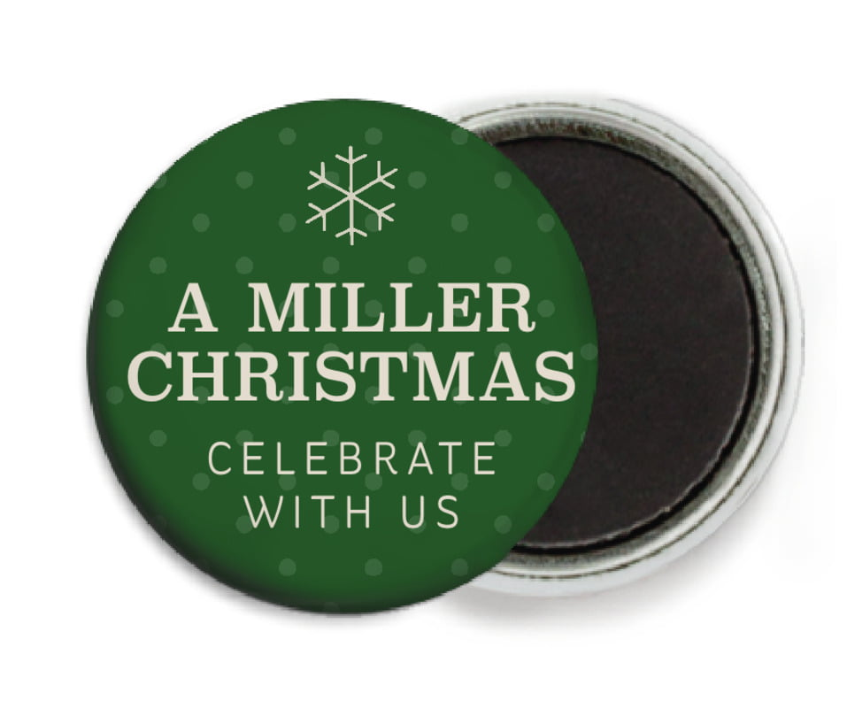 custom button magnets - deep green - iconic christmas (set of 6)