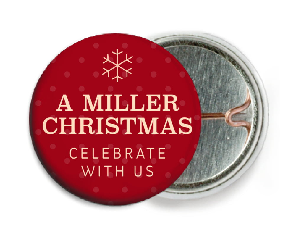 custom pin back buttons - deep red - iconic christmas (set of 6)