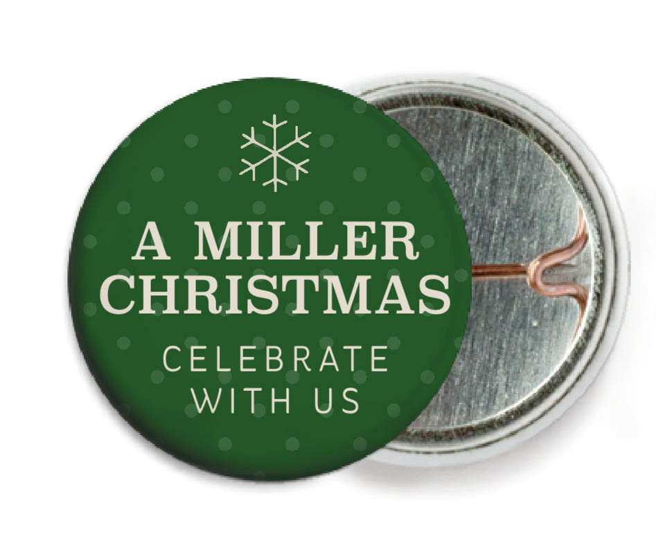 custom pin back buttons - deep green - iconic christmas (set of 6)
