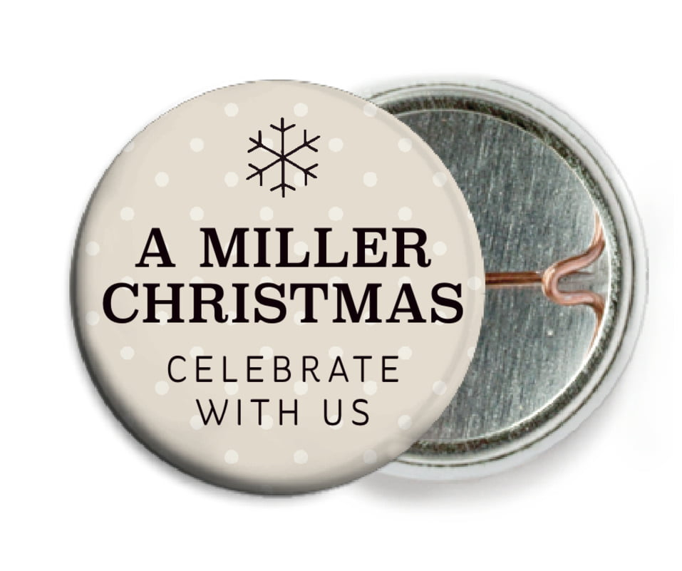 custom pin back buttons - champagne - iconic christmas (set of 6)