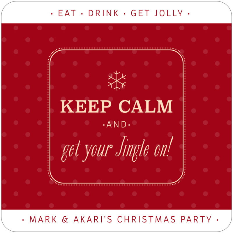 square holiday coasters - deep red - iconic christmas (set of 12)