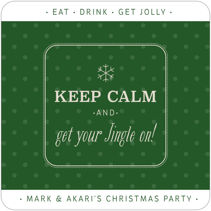 square holiday coasters - deep green - iconic christmas (set of 12)