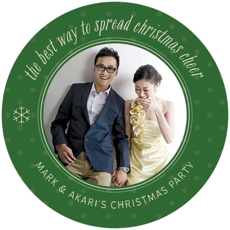round holiday coasters - deep green - iconic christmas (set of 12)