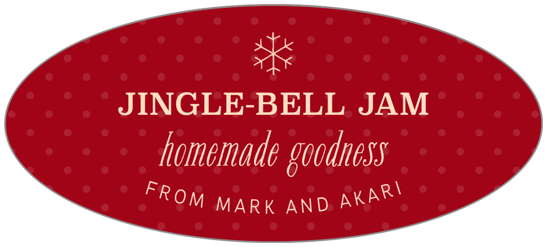 oval food/craft labels - deep red - iconic christmas (set of 30)