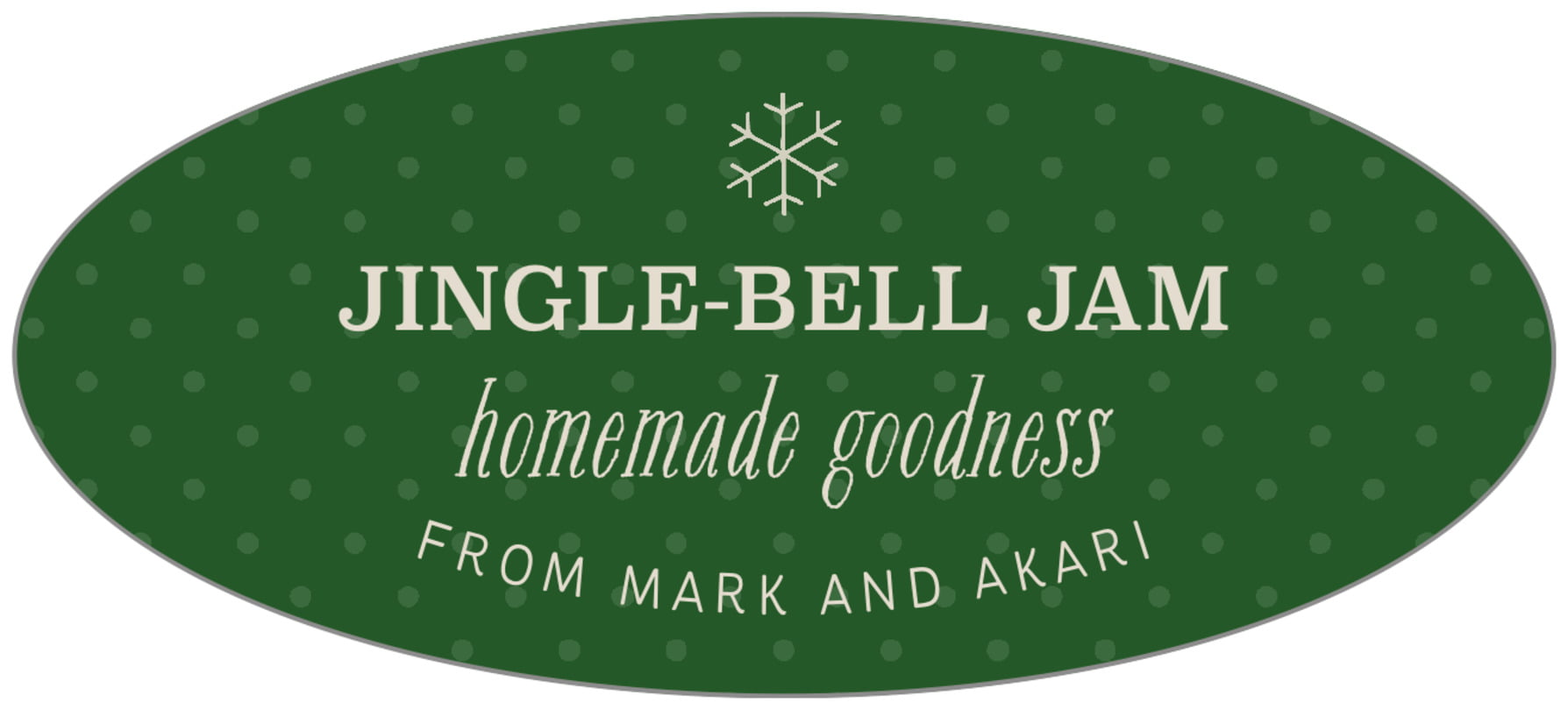 oval food/craft labels - deep green - iconic christmas (set of 30)